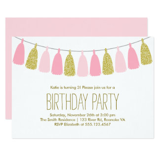 Pink and Gold Tassel Garland Birthday Party Card
