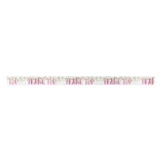 Pink and Gold Thank You Ribbon Satin Ribbon