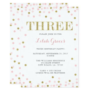 3rd birthday invitations announcements zazzle pink and gold third birthday invitations filmwisefo Images