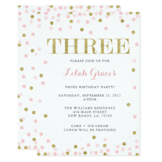Pink and Gold Third Birthday Invitations