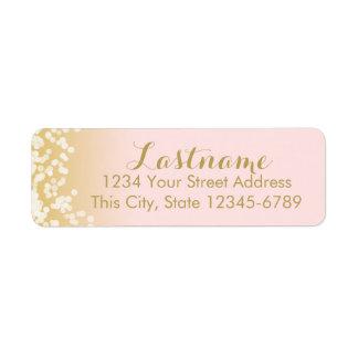 Pink and Gold Twinkle Lights Return Address Label