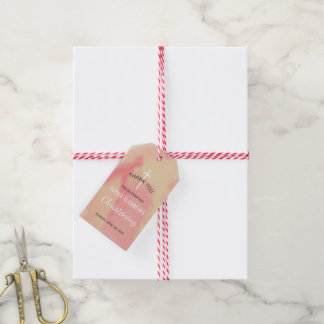 Pink and Gold Watercolor Boy Christening Thank You Gift Tags