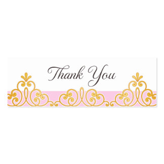 Pink and golden lace damask favor thank you tag business card template