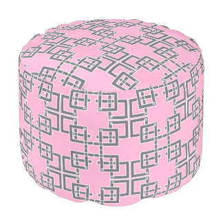 Pink and Gray Abstract Pouf