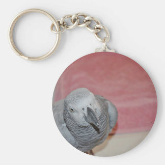 Pink and Gray African Grey Parrot Basic Round Button Key Ring