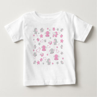 Pink and Gray Baby Elephant Pattern Print Baby T-Shirt