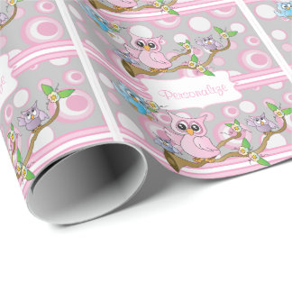Pink and Gray Baby Owl | Shower Theme Wrapping Paper
