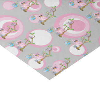 Pink and Gray Baby Owls   Shower Theme Tissue Paper
