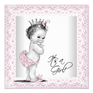 Pink and Gray Baby Shower 13 Cm X 13 Cm Square Invitation Card