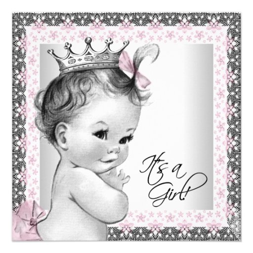 Pink and Gray Baby Shower Announcements