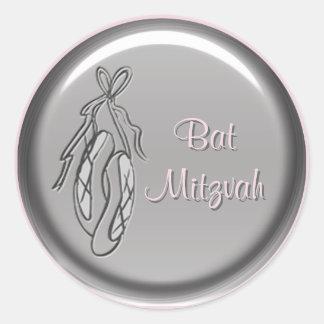 Pink and Gray Ballet Slipper Bat Mitzvah Sticker