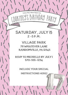 Pink and Gray Balloon Girls 17th Birthday Party Invitation
