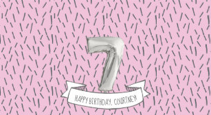 Pink And Gray Balloon Girls 7th Birthday Party Hat