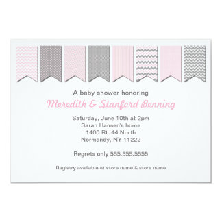 Pink and Gray Banner Baby Shower / Birthday invite