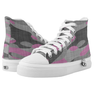 Pink and Gray Camouflage Printed Shoes
