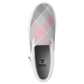 pink and gray checkered plaid printed shoes