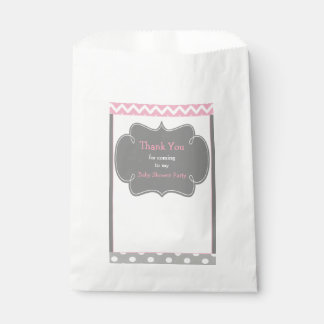 Pink and Gray Chevron Baby Shower Party Favour Bag