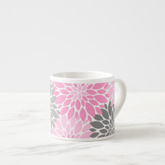 Pink and Gray Chrysanthemums Floral Pattern Espresso Cup