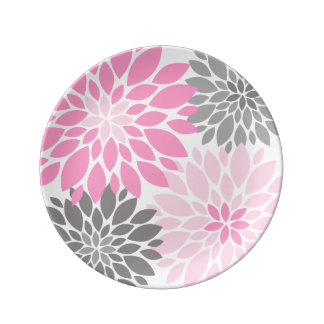 Pink and Gray Chrysanthemums Floral Pattern Plate