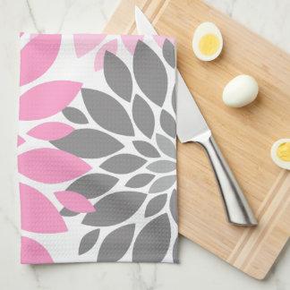 Pink and Gray Chrysanthemums Floral Pattern Tea Towel