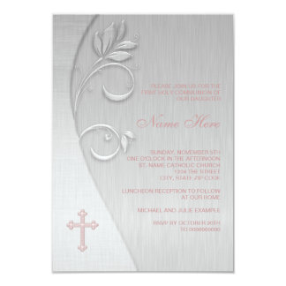 Pink and Gray Cross First Communion 9 Cm X 13 Cm Invitation Card