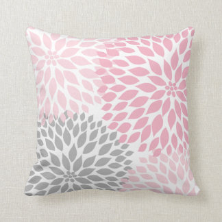 Pink and Gray Dahlia modern decor sofa pillow Cushions