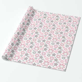 Pink and Gray Daisies Floral Craft Gift Wrap