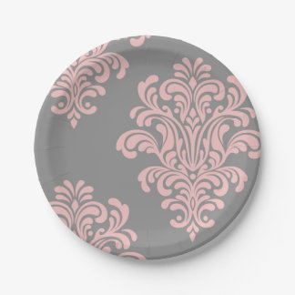 Pink and Gray Damask Pattern Paper Plate