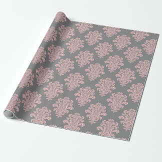 Pink and Gray Damask Pattern Wrapping Paper