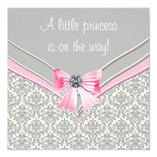 Pink and Gray Damask Pink Bow Princess Baby Shower 13 Cm X 13 Cm Square Invitation Card