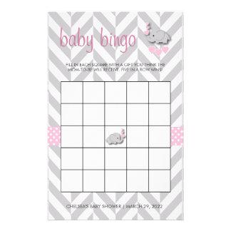 Pink and Gray Elephant Baby Shower Bingo Stationery