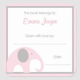Pink and Gray Elephant Baby Shower Book Plate Square Sticker