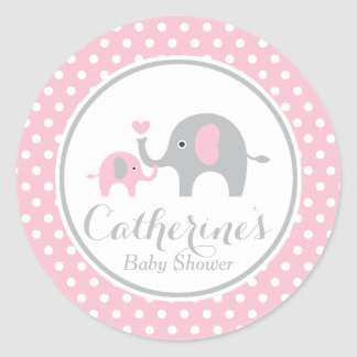 Pink and Gray Elephant Baby Shower Sticker