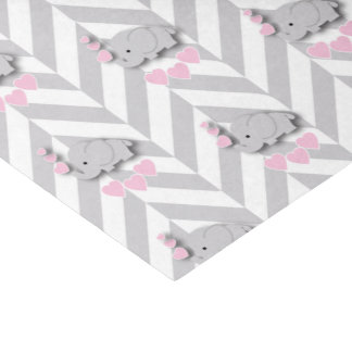 Pink and Gray Elephant Baby Shower Tissue Paper
