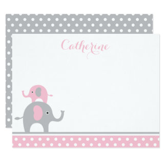 Pink and Gray Elephant Thank You Card