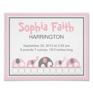 Pink and Gray Elephants infant nursery wall art Poster