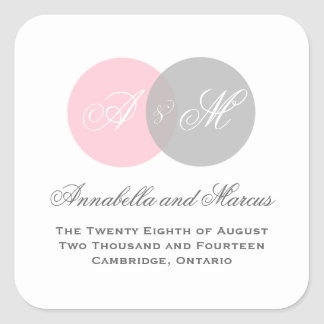 Pink and Gray Entwined Monogram Wedding Sticker