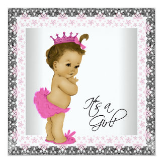 """Pink and Gray Ethnic Baby Girl Shower 5.25"""" Square Invitation Card"""