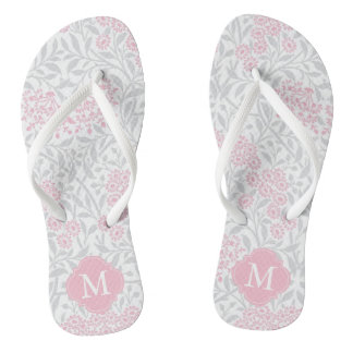 Pink and Gray Floral Damask Monogrammed Thongs