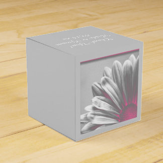 Pink and Gray Floral Highlights Wedding Wedding Favour Box