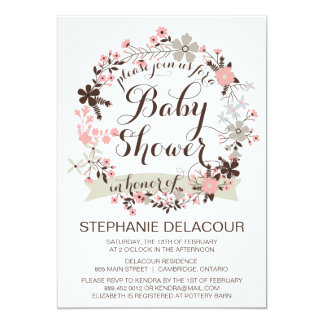 Pink and Gray Floral Wreath Baby Shower Invitation