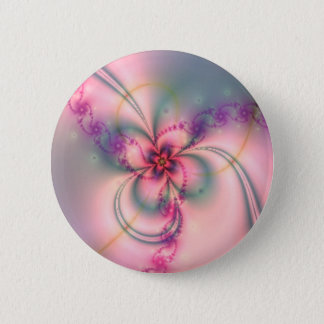 Pink And Gray Flower 6 Cm Round Badge