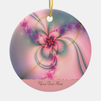 Pink And Gray Flower Round Ceramic Decoration