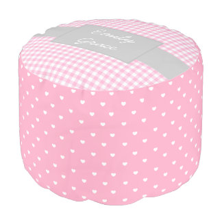 Pink and Gray Gingham Hearts Personalized Pouf