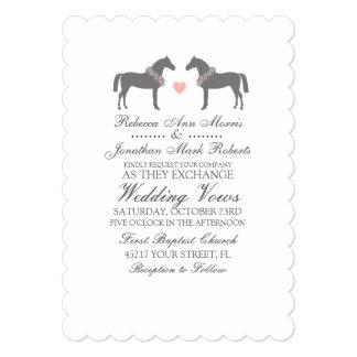Pink and Gray Horses Wedding Invitation