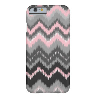 Pink and Gray Ikat Chevron Barely There iPhone 6 Case