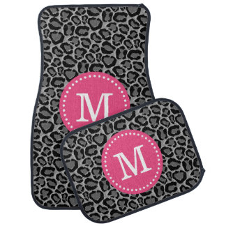 Pink and Gray Leopard Print Custom Monogram Floor Mat