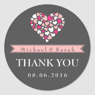 Pink and Gray Love Wedding Thank You Sticker