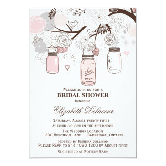 Pink and Gray Mason Jars Bridal Shower Invitations