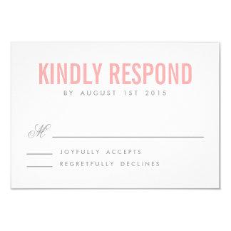 Pink and Gray Modern Typography Wedding RSVP Card 9 Cm X 13 Cm Invitation Card